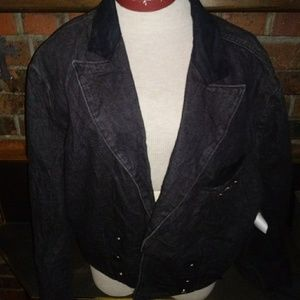 Vintage Levis Blazer Jacket Sz L Black Denim